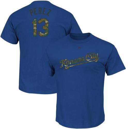 マジェスティック MAJESTIC カンザス シティ ロイヤルズ 子供用 Tシャツ キッズ ベビー マタニティ トップス ジュニア 【 Salvador Perez Kansas City Royals Youth Memorial Day Name And Number T-shirt - Royal 】