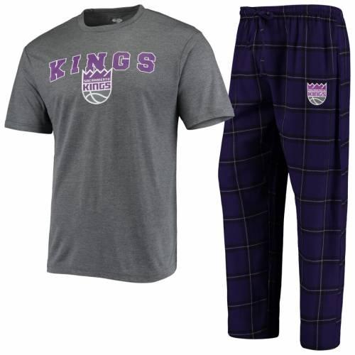 CONCEPTS SPORT サクラメント キングス Tシャツ メンズファッション トップス カットソー メンズ 【 Sacramento Kings Troupe T-shirt And Pants Sleep Set - Gray/purple 】 Gray/purple