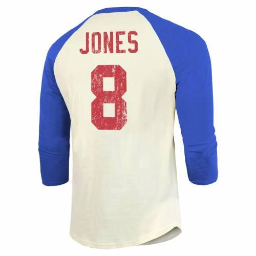 MAJESTIC THREADS ジャイアンツ ビンテージ ヴィンテージ ラグラン Tシャツ メンズファッション トップス カットソー メンズ 【 Daniel Jones New York Giants Vintage Inspired Player Name And Number Raglan 3/4-sl