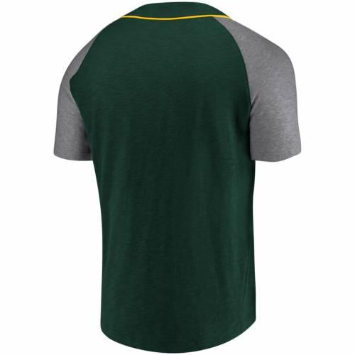 NFL PRO LINE BY FANATICS BRANDED 緑 グリーン パッカーズ ヘンリー Tシャツ 灰色 グレー グレイ メンズファッション トップス カットソー メンズ 【 Green Bay Packers True Classics Henley T-shirt - Green/heath