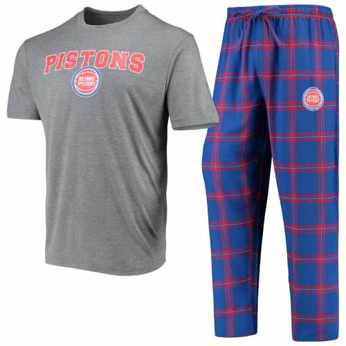 CONCEPTS SPORT デトロイト ピストンズ Tシャツ メンズファッション トップス カットソー メンズ 【 Detroit Pistons Troupe T-shirt And Pants Sleep Set - Heathered Gray/blue 】 Heathered Gray/blue