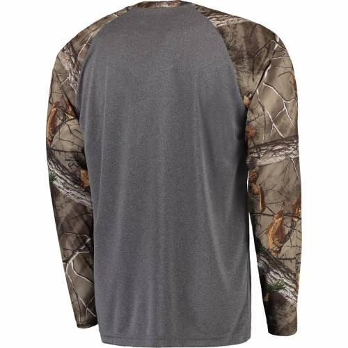COLOSSEUM アラバマ アクション スリーブ ラグラン Tシャツ メンズファッション トップス カットソー メンズ 【 Alabama Crimson Tide Break Action Long Sleeve Raglan T-shirt - Heathered Gray/realtree Camo 】 Heath