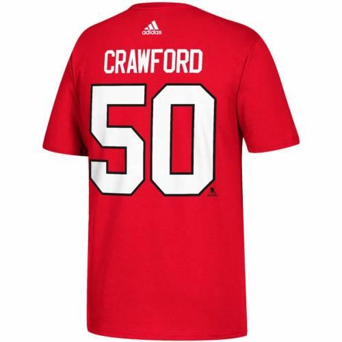 アディダス ADIDAS シカゴ Tシャツ 赤 レッド メンズファッション トップス カットソー メンズ 【 Corey Crawford Chicago Blackhawks Name And Number T-shirt - Red 】 Red