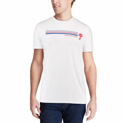 VINEYARD VINES フィラデルフィア フィリーズ ストライプ Tシャツ 白 ホワイト メンズファッション トップス カットソー メンズ 【 Philadelphia Phillies Three Stripe T-shirt - White 】 White