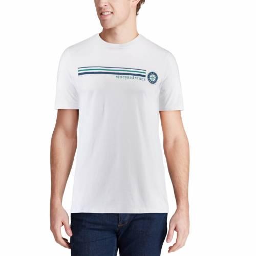VINEYARD VINES シアトル マリナーズ ストライプ Tシャツ 白 ホワイト メンズファッション トップス カットソー メンズ 【 Seattle Mariners Three Stripe T-shirt - White 】 White