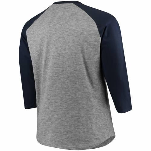 マジェスティック MAJESTIC ミネソタ ツインズ ラグラン Tシャツ メンズファッション トップス カットソー メンズ 【 Minnesota Twins Big And Tall Two To One Margin 3/4-sleeve Raglan T-shirt - Gray/navy 】 Gray