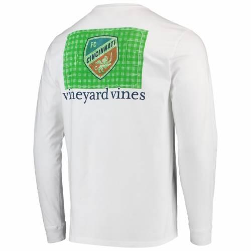 VINEYARD VINES シンシナティ フィールド スリーブ Tシャツ 白 ホワイト メンズファッション トップス カットソー メンズ 【 Fc Cincinnati Checkered Field Long Sleeve T-shirt - White 】 White