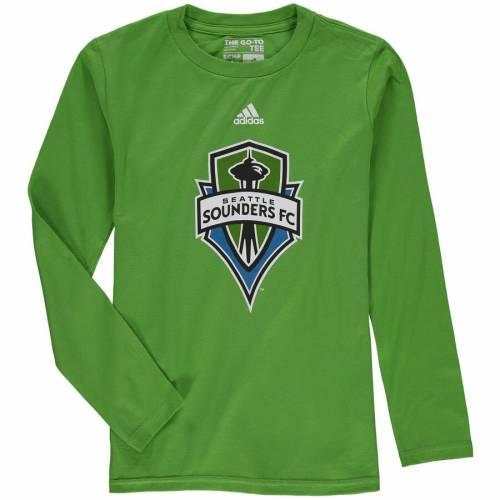アディダス ADIDAS シアトル 子供用 ロゴ スリーブ Tシャツ 緑 グリーン キッズ ベビー マタニティ トップス ジュニア 【 Seattle Sounders Fc Youth Logo Long Sleeve T-shirt - Rave Green 】 Rave Green