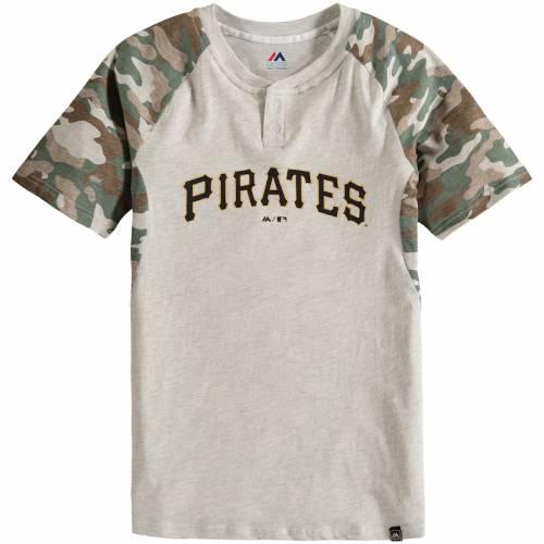 マジェスティック MAJESTIC ピッツバーグ 海賊団 子供用 ヘンリー Tシャツ キッズ ベビー マタニティ トップス ジュニア 【 Pittsburgh Pirates Youth Base Stealer Henley T-shirt - Cream/camo 】 Cream/camo