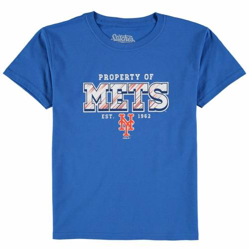 STITCHES メッツ 子供用 チーム Tシャツ キッズ ベビー マタニティ トップス ジュニア 【 New York Mets Youth Property Of Team T-shirt - Royal 】 Royal