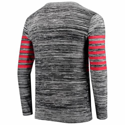 FOCO バッカニアーズ ニット スリーブ ヘンリー Tシャツ 灰色 グレー グレイ メンズファッション トップス カットソー メンズ 【 Tampa Bay Buccaneers Retro Marled Knit Long Sleeve Henley T-shirt - Gray 】