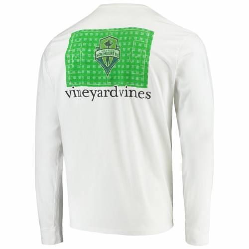 VINEYARD VINES シアトル フィールド スリーブ Tシャツ 白 ホワイト メンズファッション トップス カットソー メンズ 【 Seattle Sounders Fc Checkered Field Long Sleeve T-shirt - White 】 White