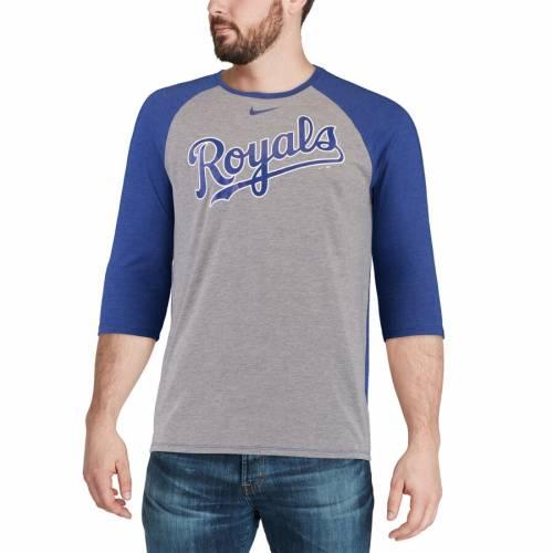 ナイキ NIKE カンザス シティ ロイヤルズ ラグラン Tシャツ 灰色 グレー グレイ メンズファッション トップス カットソー メンズ 【 Kansas City Royals 3/4-sleeve Tri-blend Raglan T-shirt - Heathered Gray
