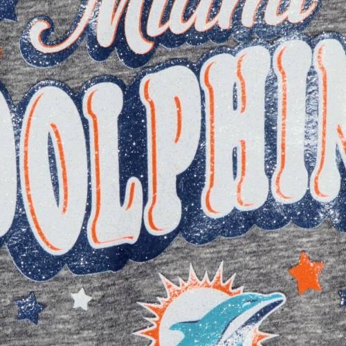 ニューエラ NEW ERA マイアミ ドルフィンズ 子供用 スリーブ ブイネック Tシャツ 灰色 グレー グレイ キッズ ベビー マタニティ トップス ジュニア 【 Miami Dolphins Girls Youth Starring Role Long Sle