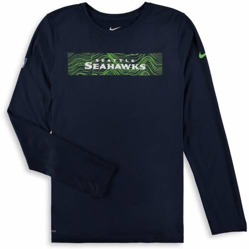 ナイキ NIKE シアトル シーホークス 子供用 スリーブ Tシャツ カレッジ 紺 ネイビー キッズ ベビー マタニティ トップス ジュニア 【 Seattle Seahawks Youth Onfield Seismic Long Sleeve T-shirt - College Na