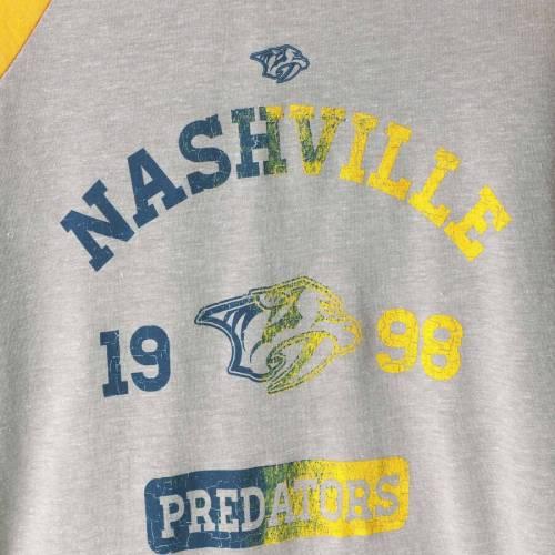 OUTERSTUFF 子供用 ラグラン スリーブ Tシャツ キッズ ベビー マタニティ トップス ジュニア 【 Nashville Predators Youth Utility Raglan Tri-blend Long Sleeve T-shirt - Gray/gold 】 Gray/gold