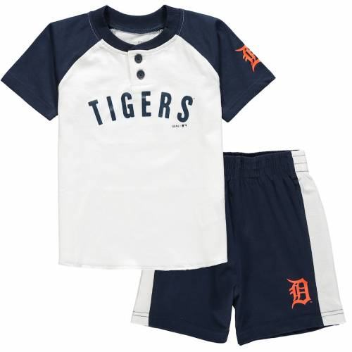 OUTERSTUFF デトロイト タイガース ベビー 赤ちゃん用 ヘンリー Tシャツ ショーツ ハーフパンツ キッズ マタニティ ジュニア 【 Detroit Tigers Toddler Good Hit Henley T-shirt And Shorts Set - White/navy 】 Wh