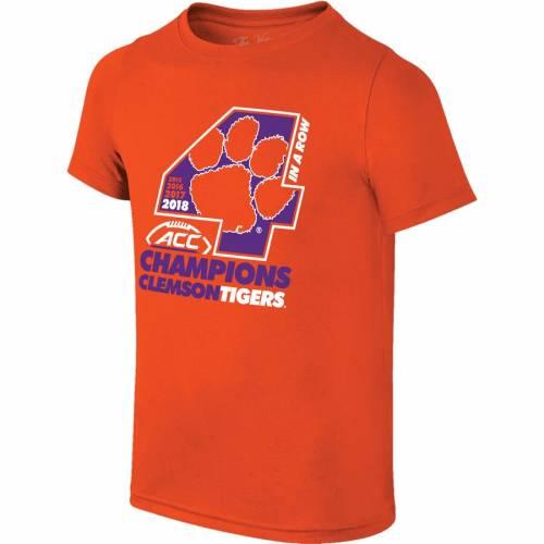 ORIGINAL RETRO BRAND タイガース 子供用 Tシャツ 橙 オレンジ キッズ ベビー マタニティ トップス ジュニア 【 Clemson Tigers Youth 2018 Acc Football Champions Locker Room T-shirt - Orange 】 Orange