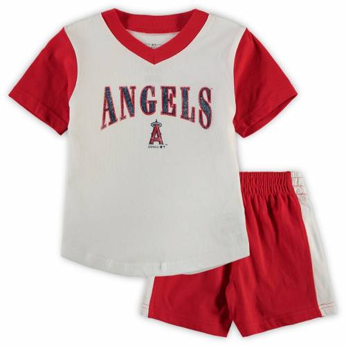 OUTERSTUFF エンジェルス ベビー 赤ちゃん用 ブイネック Tシャツ ショーツ ハーフパンツ キッズ マタニティ ジュニア 【 Los Angeles Angels Toddler Little Hitter V-neck T-shirt And Shorts Set - White/red 】 Whit
