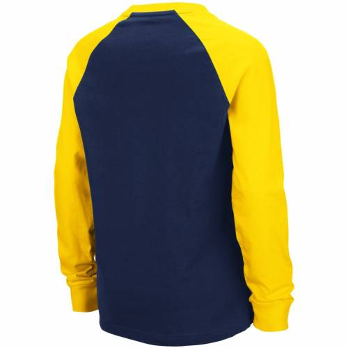 COLOSSEUM ミシガン 子供用 キャップ 帽子 ラグラン スリーブ Tシャツ 紺 ネイビー キッズ ベビー マタニティ トップス ジュニア 【 Michigan Wolverines Youth Beanie Raglan Long Sleeve T-shirt - Navy 】 Navy