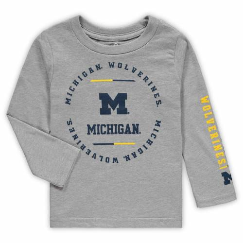 OUTERSTUFF ミシガン ベビー 赤ちゃん用 クラブ スリーブ Tシャツ 灰色 グレー グレイ キッズ マタニティ ジュニア 【 Michigan Wolverines Toddler Club Short Sleeve And Long Sleeve T-shirt Combo Set - Navy/heathere
