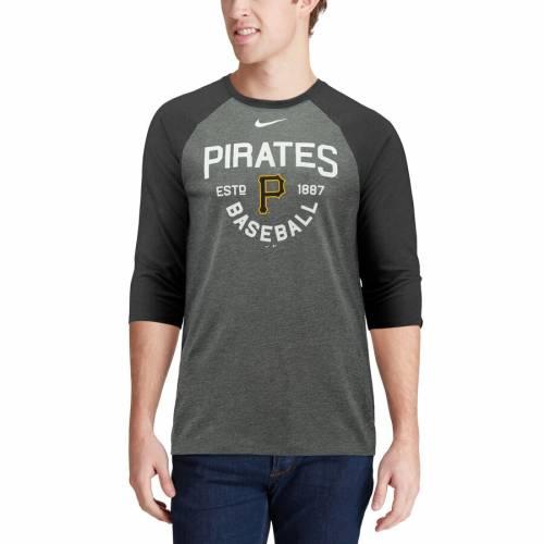 ナイキ NIKE ピッツバーグ 海賊団 ラグラン Tシャツ チャコール メンズファッション トップス カットソー メンズ 【 Pittsburgh Pirates Tri-blend 3/4-sleeve Raglan T-shirt - Heathered Charcoal 】 Heathered Cha