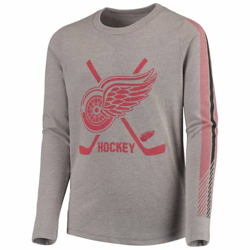 OUTERSTUFF デトロイト 赤 レッド 子供用 スリーブ Tシャツ キッズ ベビー マタニティ ジュニア 【 Detroit Red Wings Youth Binary 2-in-1 Long Sleeve/short Sleeve T-shirt Set - Red/gray 】 Red/gray