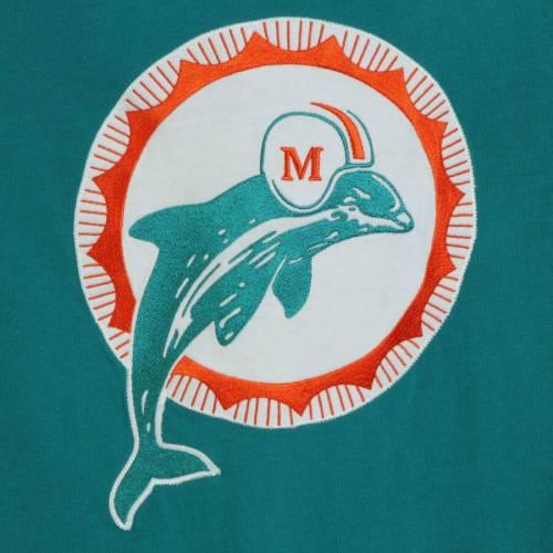 ミッチェル&ネス MITCHELL & NESS マイアミ ドルフィンズ チーム ブイネック スリーブ Tシャツ アクア メンズファッション トップス カットソー メンズ 【 Miami Dolphins Mitchell And Ness Team Cap