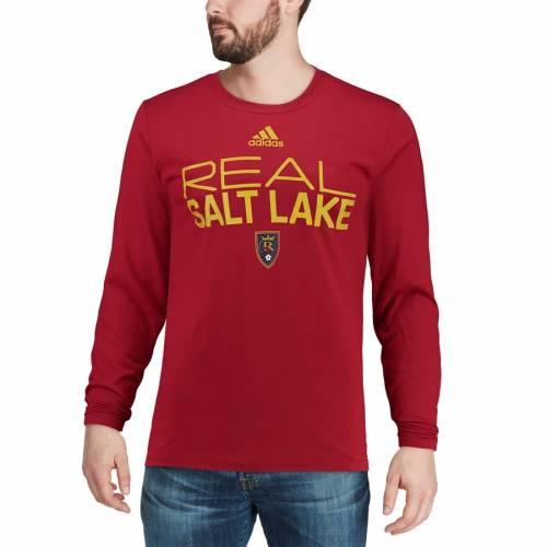 アディダス ADIDAS スリーブ Tシャツ 赤 レッド 【 SLEEVE RED ADIDAS REAL SALT LAKE LOCKER STACKED LONG TSHIRT 】 メンズファッション トップス Tシャツ カットソー