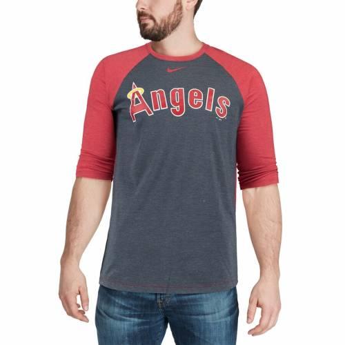 ナイキ NIKE エンジェルス ラグラン Tシャツ メンズファッション トップス カットソー メンズ 【 Los Angeles Angels Wordmark Tri-blend Raglan 3/4-sleeve T-shirt - Navy/red 】 Navy/red
