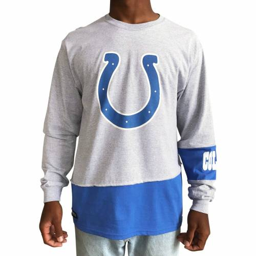 REFRIED APPAREL インディアナポリス コルツ スリーブ Tシャツ 【 SLEEVE INDIANAPOLIS COLTS UPCYCLED ANGLE LONG TSHIRT GRAY ROYAL 】 メンズファッション トップス カットソー 送料無料