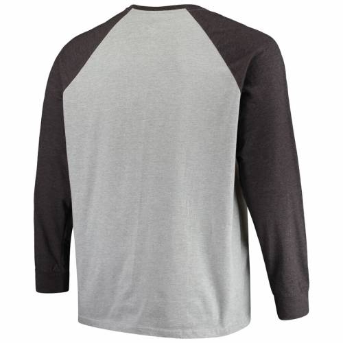 PROFILE レイダース ラグラン スリーブ Tシャツ 灰色 グレー グレイ メンズファッション トップス カットソー メンズ 【 Las Vegas Raiders Big And Tall Contrast Raglan Long Sleeve T-shirt - Heathered Gray 】 He