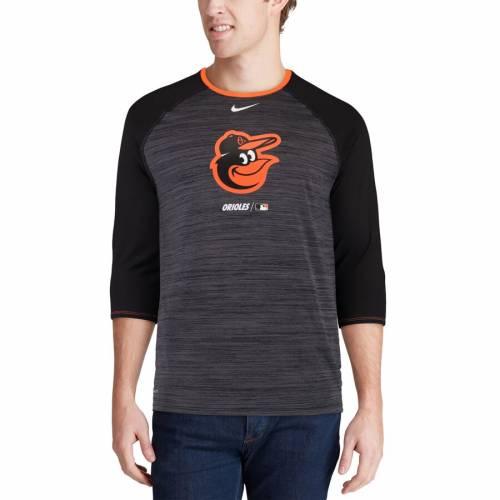 ナイキ NIKE ボルティモア オリオールズ パフォーマンス ラグラン Tシャツ 黒 ブラック メンズファッション トップス カットソー メンズ 【 Baltimore Orioles Velocity Performance 3/4-sleeve Raglan T-sh