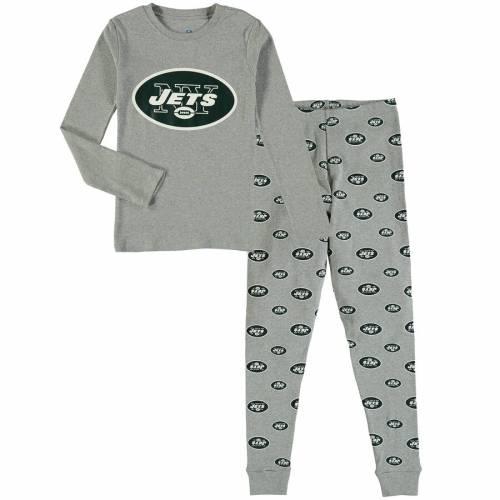 OUTERSTUFF ジェッツ 子供用 スリーブ Tシャツ 灰色 グレー グレイ キッズ ベビー マタニティ ジュニア 【 New York Jets Youth Long Sleeve T-shirt And Pants Sleep Set - Heathered Gray 】 Heathered Gray