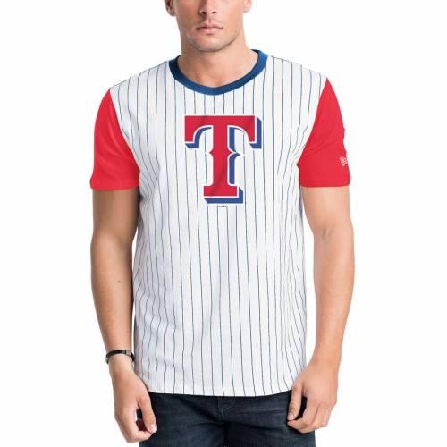 ニューエラ NEW ERA テキサス レンジャーズ ベースボール Tシャツ 【 TEXAS RANGERS PINSTRIPE BASEBALL TSHIRT WHITE RED 】 メンズファッション トップス カットソー 送料無料