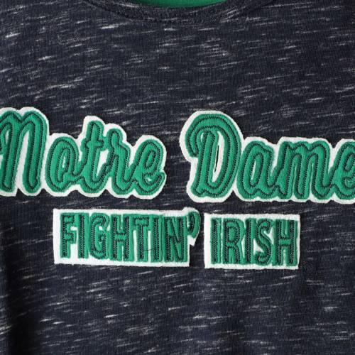 COLOSSEUM 子供用 スリーブ Tシャツ 紺 ネイビー キッズ ベビー マタニティ トップス ジュニア 【 Notre Dame Fighting Irish Girls Youth Brain Double Layer Front Tie Long Sleeve T-shirt - Navy 】 Navy