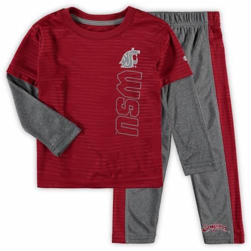 COLOSSEUM ワシントン スケートボード ベビー 赤ちゃん用 スリーブ Tシャツ 灰色 グレー グレイ キッズ マタニティ ジュニア 【 Washington State Cougars Toddler Bayharts Long Sleeve T-shirt And Pants Set - Cr