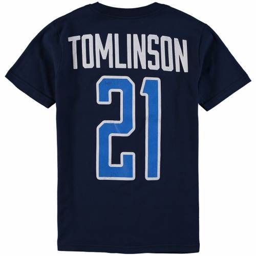 OUTERSTUFF チャージャーズ 子供用 ロゴ Tシャツ 紺 ネイビー キッズ ベビー マタニティ トップス ジュニア 【 Ladainian Tomlinson San Diego Chargers Youth Retired Player Distressed Current Logo Name And Number T-shi