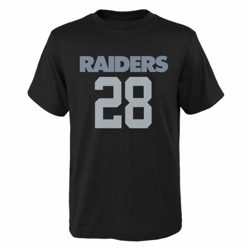 OUTERSTUFF レイダース 子供用 Tシャツ 黒 ブラック キッズ ベビー マタニティ トップス ジュニア 【 Josh Jacobs Las Vegas Raiders Youth Mainliner Player Name And Number T-shirt - Black 】 Black
