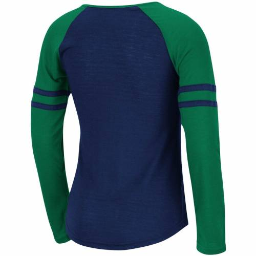 COLOSSEUM 子供用 ラグラン スリーブ Tシャツ 紺 ネイビー キッズ ベビー マタニティ トップス ジュニア 【 Notre Dame Fighting Irish Girls Youth Andy Raglan Long Sleeve T-shirt - Navy 】 Navy