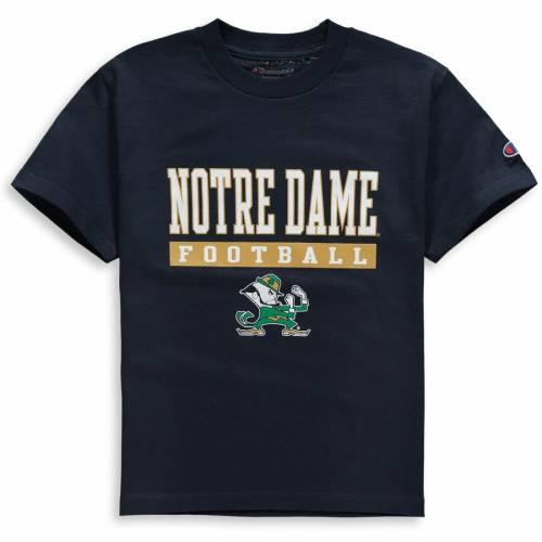 チャンピオン CHAMPION 子供用 Tシャツ 紺 ネイビー キッズ ベビー マタニティ トップス ジュニア 【 Notre Dame Fighting Irish Youth Football Drop T-shirt - Navy 】 Navy