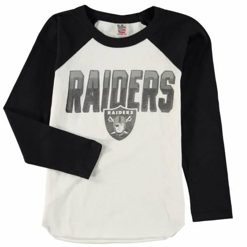 JUNK FOOD レイダース 子供用 ラグラン スリーブ Tシャツ 白 ホワイト キッズ ベビー マタニティ トップス ジュニア 【 Las Vegas Raiders Youth Raglan Long Sleeve T-shirt - White 】 White