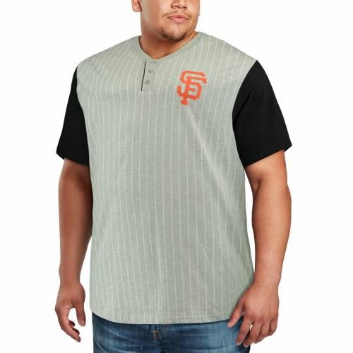 マジェスティック MAJESTIC ジャイアンツ ヘンリー Tシャツ メンズファッション トップス カットソー メンズ 【 San Francisco Giants Big And Tall Life Or Death Pinstripe Henley T-shirt - Gray/black 】 Gray/black