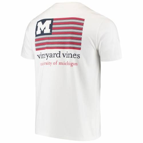 VINEYARD VINES ミシガン Tシャツ 白 ホワイト メンズファッション トップス カットソー メンズ 【 Michigan Wolverines Americana Flag T-shirt - White 】 White