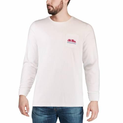 VINEYARD VINES スリーブ Tシャツ 白 ホワイト メンズファッション トップス カットソー メンズ 【 Ole Miss Rebels Pocket Long Sleeve T-shirt - White 】 White