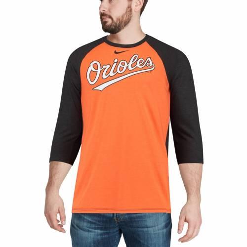 ナイキ NIKE ボルティモア オリオールズ ラグラン Tシャツ メンズファッション トップス カットソー メンズ 【 Baltimore Orioles Wordmark Tri-blend Raglan 3/4-sleeve T-shirt - Orange/black 】 Orange/black