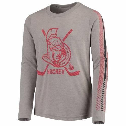 OUTERSTUFF 子供用 スリーブ Tシャツ キッズ ベビー マタニティ ジュニア 【 Ottawa Senators Youth Binary 2-in-1 Long Sleeve/short Sleeve T-shirt Set - Red/gray 】 Red/gray