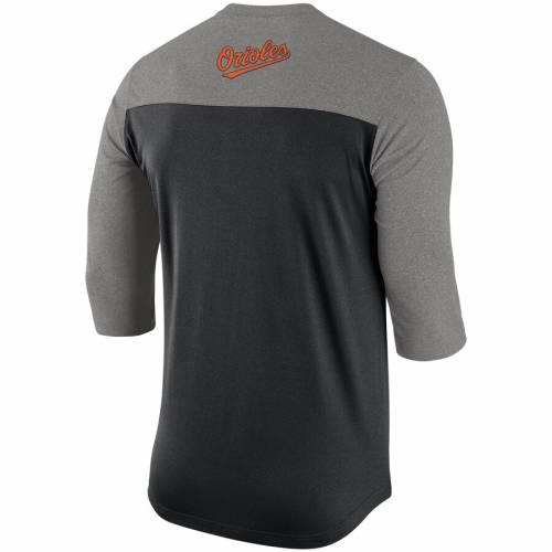 ナイキ NIKE ボルティモア オリオールズ ヘンリー パフォーマンス Tシャツ 黒 ブラック メンズファッション トップス カットソー メンズ 【 Baltimore Orioles Dry Henley 3/4-sleeve Performance T-shirt -