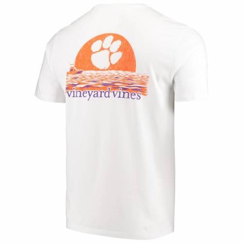 VINEYARD VINES タイガース Tシャツ 白 ホワイト メンズファッション トップス カットソー メンズ 【 Clemson Tigers Sunset T-shirt - White 】 White