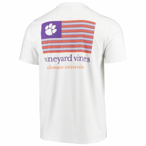VINEYARD VINES タイガース Tシャツ 白 ホワイト メンズファッション トップス カットソー メンズ 【 Clemson Tigers Americana Flag T-shirt - White 】 White